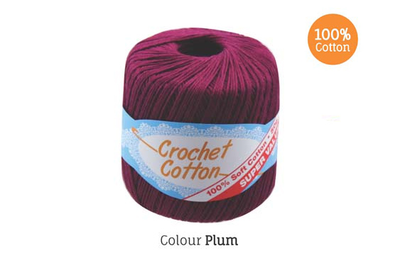 2x 50g Crochet Cotton Ball - Plum