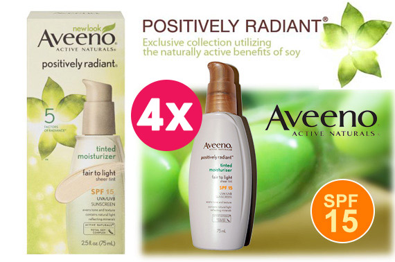4x Aveeno Active Naturals Positively Radiant Tinted Moisturiser SPF15