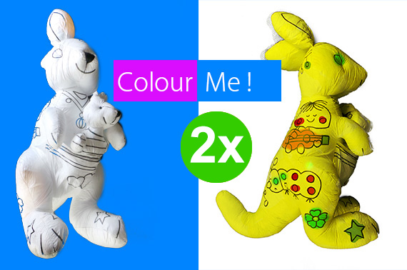 2x Colour Me Stuffed Kangroo Doll Toy
