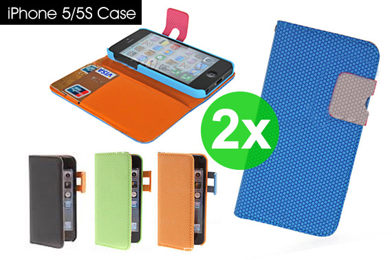 2x Hives Pattern PU Leather Case with Card Slot and Hang Rope for iPhone 5/5S