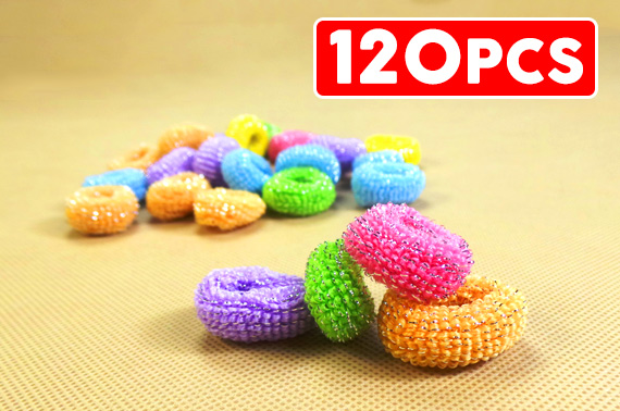 120-Piece Mixed Colour Scrunchy Elastic Hair Tie