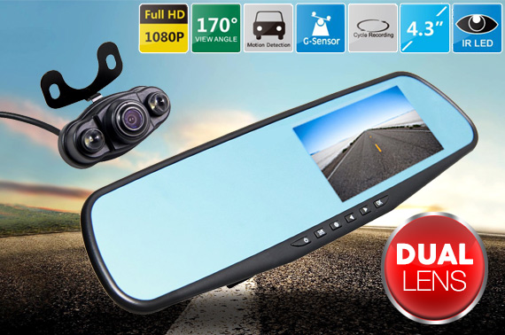 HD 1080p Car Rear View Mirror Dual Lens DVR Dash Cam