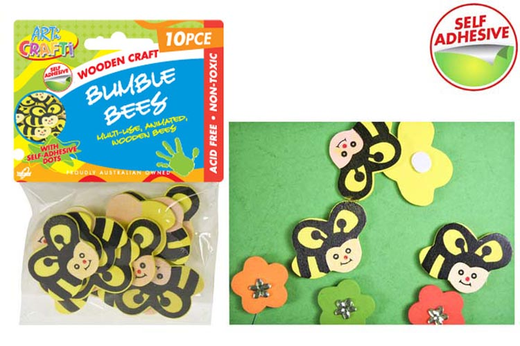10pcs Self Adhesive Wooden Bumble Bees