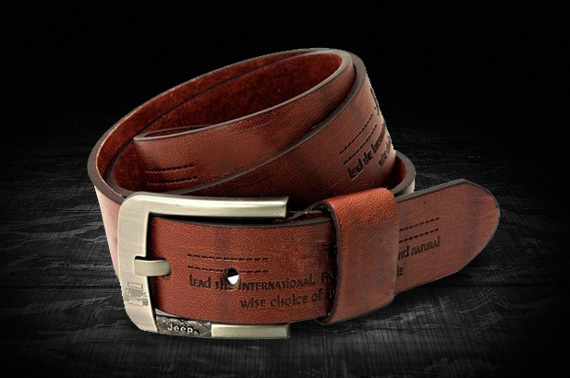 Men's Leather Belt Waistband with Square Buckle