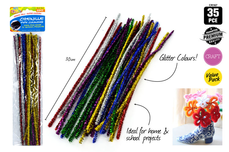 35pcs Chenille Glitter Pipe Cleaners