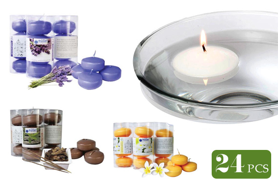 24x Muller Kerzen Scented Floating Candles - Random Fragrance