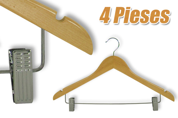 4 Pieces Wooden Skirt/Pants Hanger with Adjustable Metal Clips