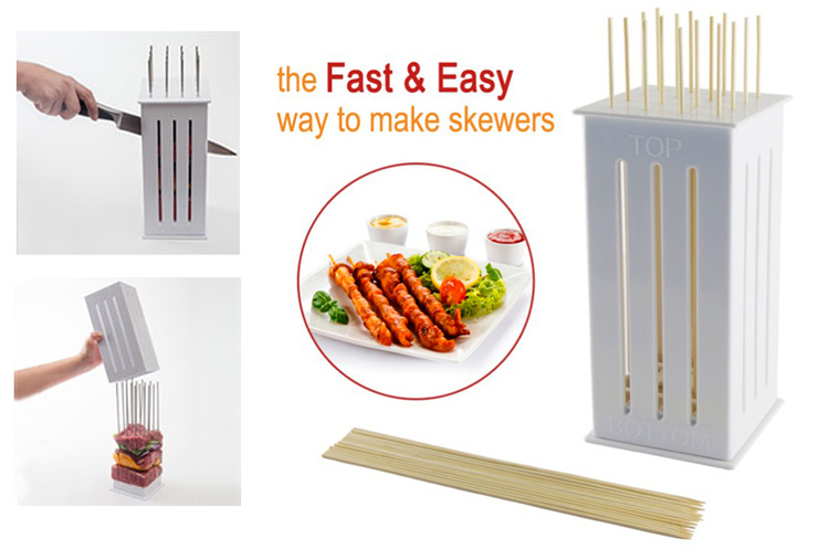 Brochette/Kebab Fast Maker with 32 bamboo Skewers
