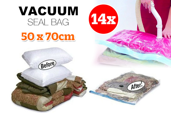 14x Medium Vacuum Storage Seal Bag 50 x 70cm