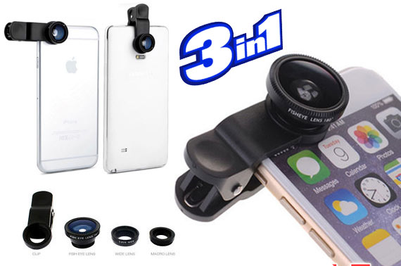 3in1 Fisheye + Wide Angle + Macro Camera Clip Lens Kit for iPhone/Smartphones