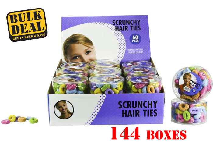 Bulk Buy: 144 Boxes Mixed Colour Scrunchy Elastic Hair Tie