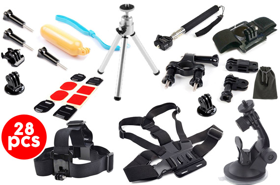 28 in 1 Accessories Pack for GoPro Hero 4 3+ 3 2
