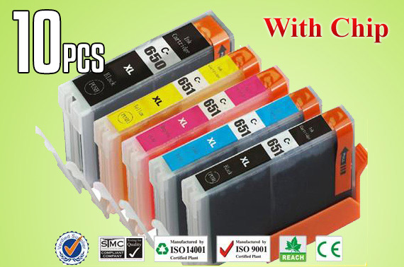 10x Compatible Ink Cartridges CLI 651 XL PGI 650 for Canon Printers