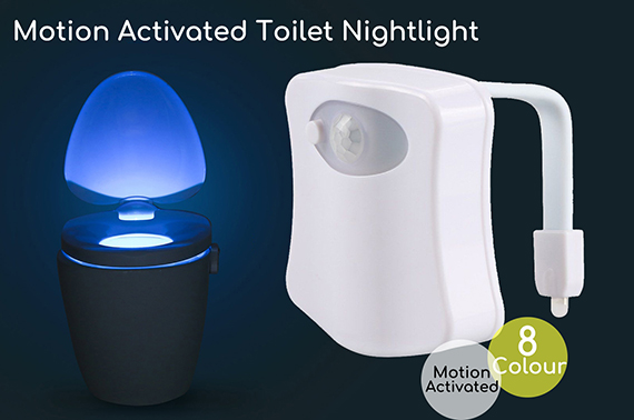 8 Colour Motion Activated Toilet Bowl LED Night Light