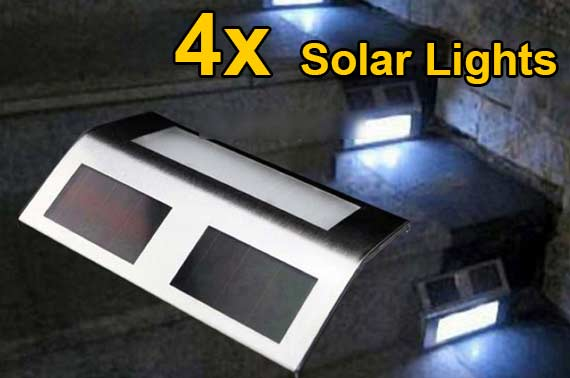 4x Solar Powered LED Outdoor Step Light