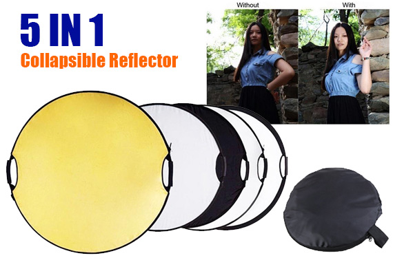 New 5 in 1 Portable Round 43'' 110cm Multi Camera Lighting Reflector Kit