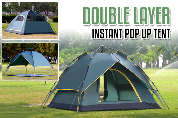 Double Layer Instant Pop Up 4 Person Camping Tent