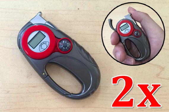 2x Portable Refillable Gas Cigarette Lighter with Compass/Carabiner