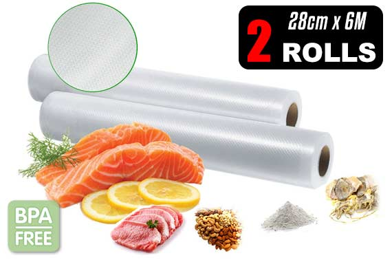 2x Vacuum Food Sealer Roll Bags 28cm x 6M