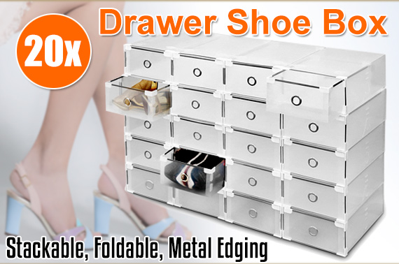 20pcs Stackable Foldable Clear Shoe Storage Boxes Drawer