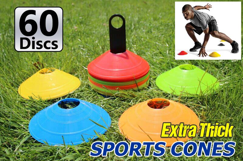 60x Sports Training Discs Markers Cones