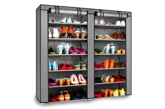 2 Doors 7 Tier Portable Shoes DIY Rack - SILVER