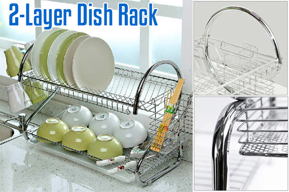 2-Layer Chrome-Plated Steel Dish Rack
