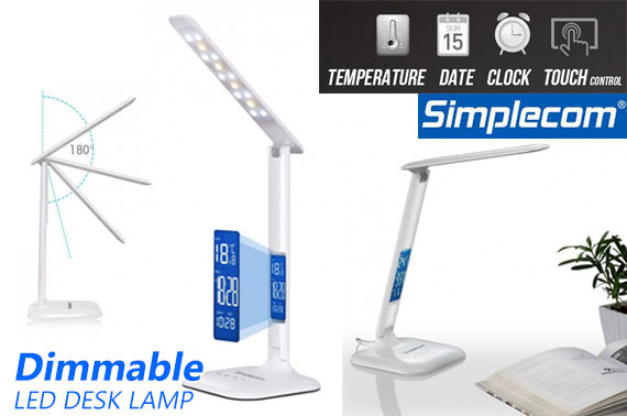 Simplecom Dimmable Touch Control LED Desk Lamp w/ Digital Clock