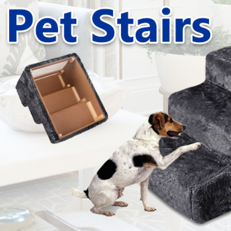 Portable Pet Soft Plush 3 Steps Ladder