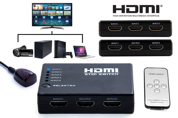 1080P Full HD 5 Port HDMI Splitter with Remote Control