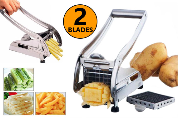 2 Blades Stainless Steel Potato Chips Slicer