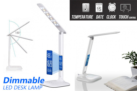 Dimmable Touch Control LED Desk Lamp w/ Digital Clock