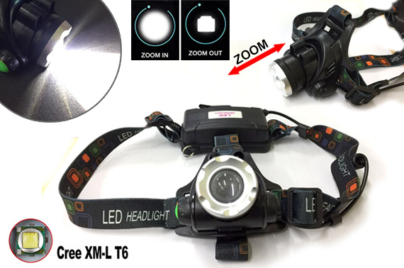 2000LM Rechargeable CREE XM-L T6 LED Zoomable Head Lamp