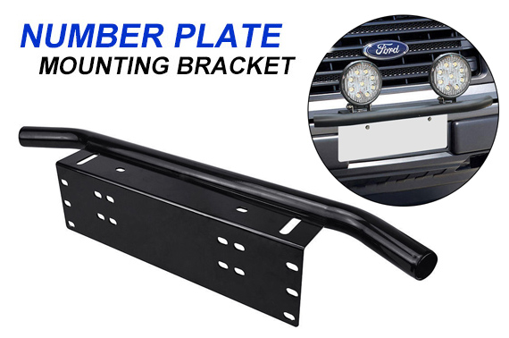 Car's Number Plate Bullbar Frame Mounting Bracket - Black