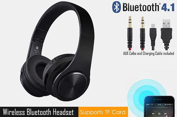 Foldable Wireless Bluetooth Headset Headphones