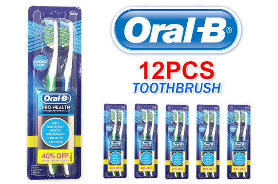 12x Oral-B Pro-Health Anti-Bacterial Medium Toothbrush with Crossaction Bristles