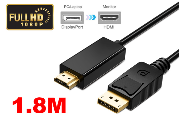 Full HD DisplayPort to HDMI Cable 1.8M