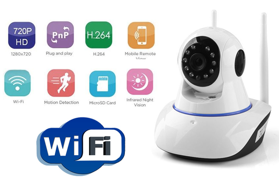 HD 720P Dual Antenna WiFi Wireless P2P IP CCTV PTZ Security Camera Night Vision