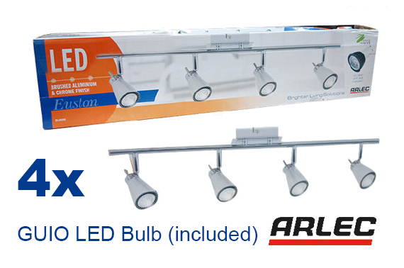 Arlec 4 Bar Ceiling Spotlight Aluminium Chrome 35 Watt Light Bulb LED SL0609 AU