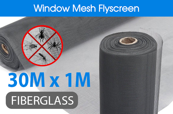 100FT / 30M Roll Insect Flywire Window Net Mesh Flyscreen Grey