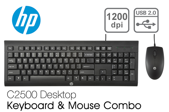 HP C2500 Desktop Wired USB Keyboard and Mouse Combo 1200 DPI
