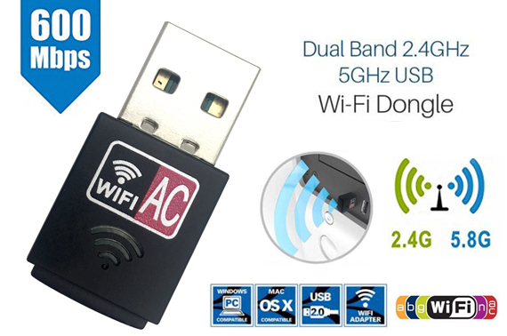 Dual Band 600Mbps 2.4GHz 5GHz USB WiFi Dongle