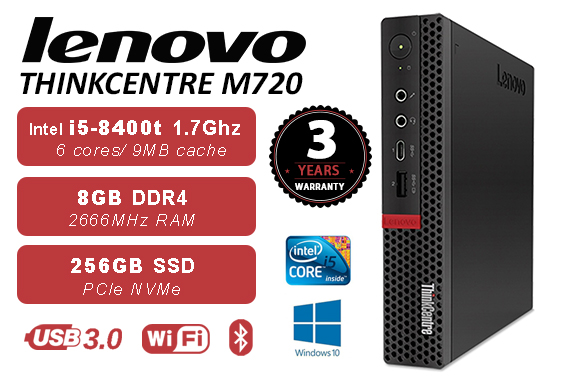 Lenovo THINKCENTRE M720 TINY i5-8400T 8G 256G SSD WIFI+BT WIN10 3Y warranty