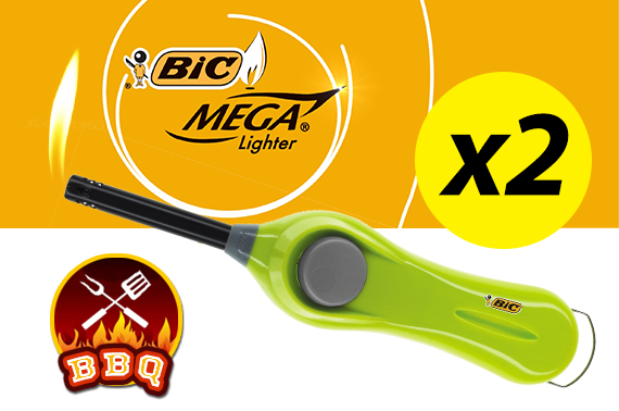 2x Bic Mega lighter BBQ U140 Long Lasting Butane Gas Ignition Rod