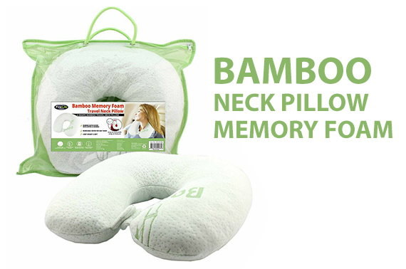BAMBOO MEMORY FOAM NECK PILLOW TRAVEL CUSHION