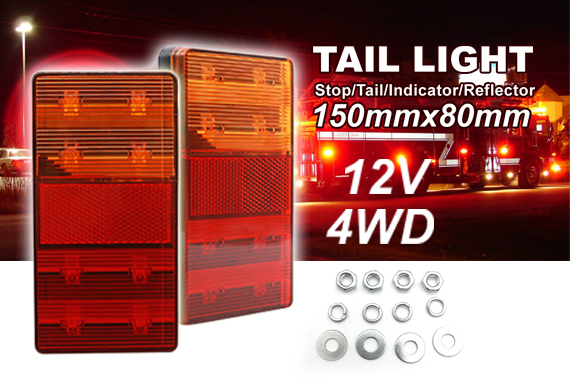 2x 12V LED TRAILER LIGHTS TAIL LAMP STOP INDICATOR