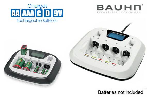 BAUHN Rechargeable Battery Charger with USB Port For AA AAA