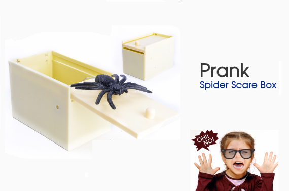 Wooden Prank Spider Scare Box Hidden in Case Trick Play Joke Gag Toys Gifts 4C