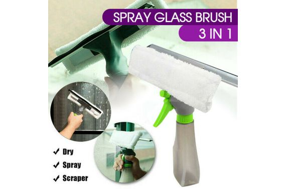 3 in 1 Glass Window Wiper Squeegee Blade Spray Bottle Cleaning Brush Wiper