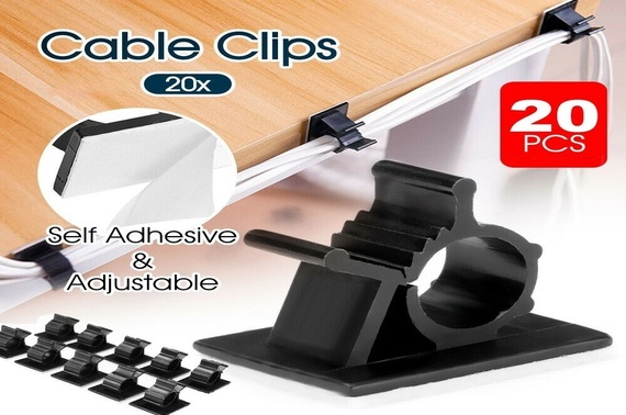 20x Cable Clips Adhesive Cord Black Management Wire Holder Organizer Clamp